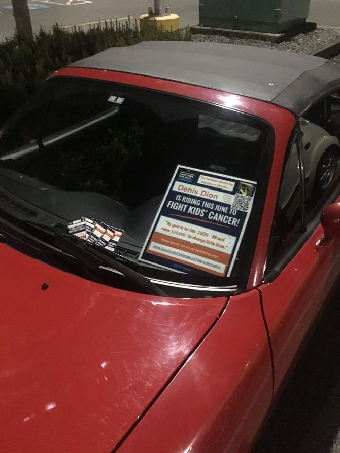 "Even ""Jellybean"" my 1994 Miata is hard at work fundraising for the Great Cycle Challenge!"