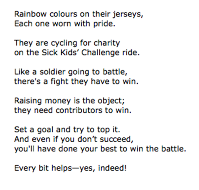A poem written for my Out Spoke'n cycling buddies…